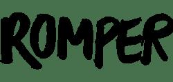 Black text logo for Romper.com